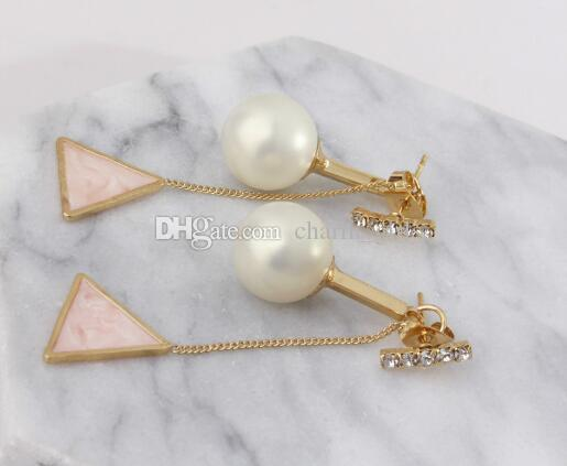 new hot South Korean pop lady pearl delta tassel multi-color earrings pearl earring studs back pendant fashion classic exquisite