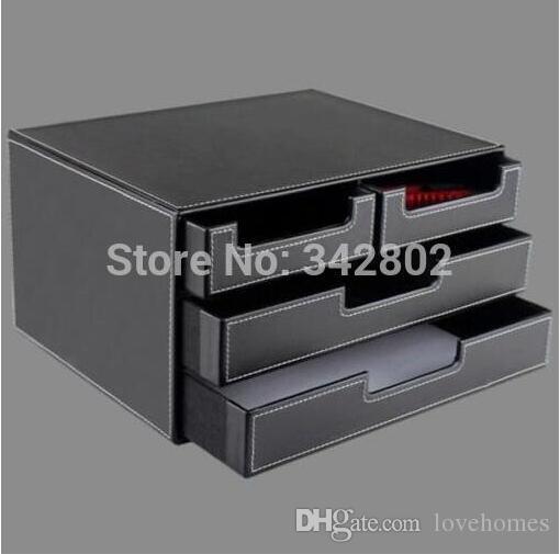 Cajón de almacenamiento de cuero de PU rectangular, caja de almacenamiento de cosméticos, joyero, caja de servilleta de pañuelo de escritorio de Creative Desktop negro marrón