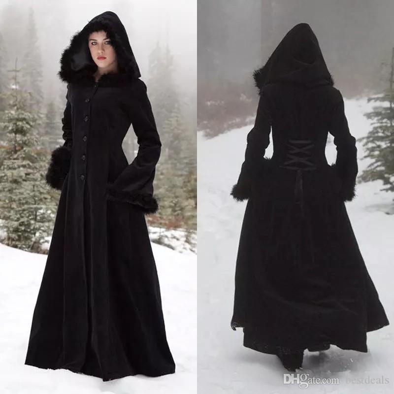 2020 Новый Fur Hallowmas с капюшоном Плащи Зимняя свадьба Мысы Викка Robe Теплое пальто невесты куртка Рождество черный События аксессуары