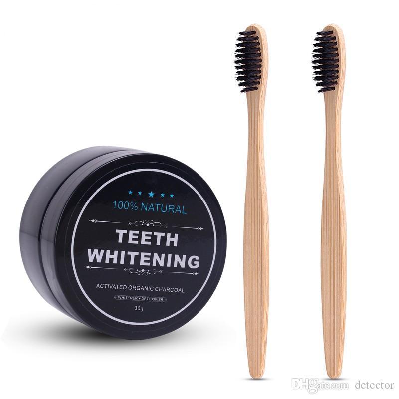 60 г ежедневного использования черный отбеливание зубов масштабирование порошок гигиены полости рта очистки упаковка премиум активированный бамбуковый уголь порошок