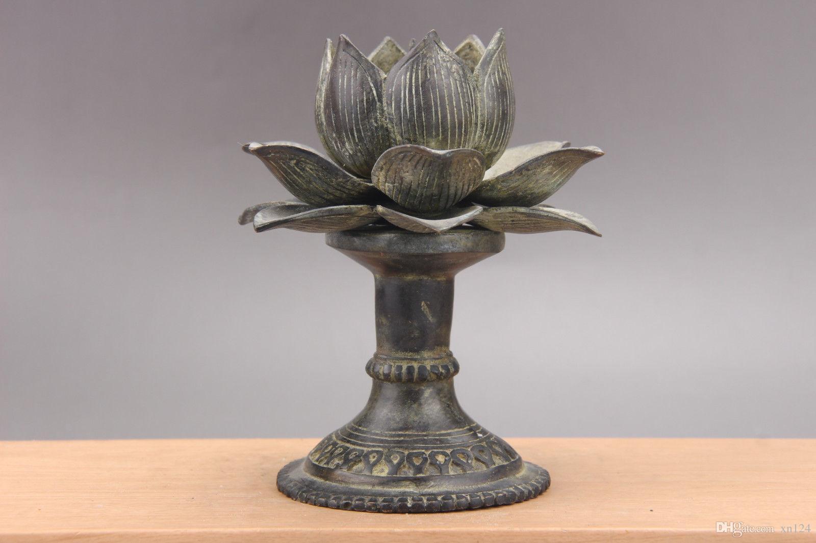 Articoli in bronzo squisito Cina Intagliato a mano Lotus Candlestick as755