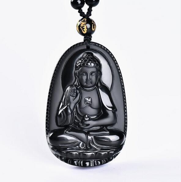 obsidian buddha pendant male Women necklace animal buddha Bead curtain transhipped scrub buddha head pendant black