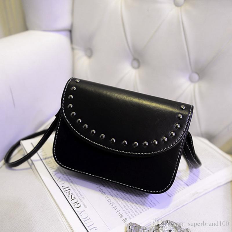 Vintage Fashion Shaping Bag Farbe Retro Rivet Damenhandtasche Leder Damenhandtasche Schultertasche Mini Messenger Bag