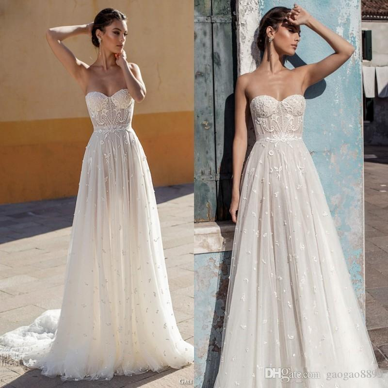 Discount Gali Karten 2019 New Summer Lace Wedding Dresses Bridal Gowns A Line Sweetheart Backless Appliques Pearls Fitted Long Gorgeous Wedding
