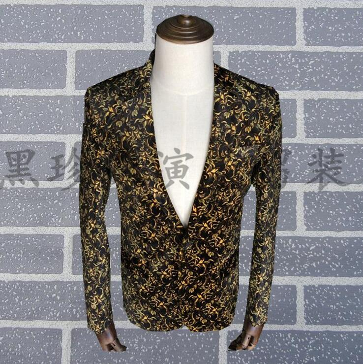 England Personality Printing Men Suits Designs Stage Costumes For Singers Men Blazer Dance Clothes Jacket Star Style Dress Punk