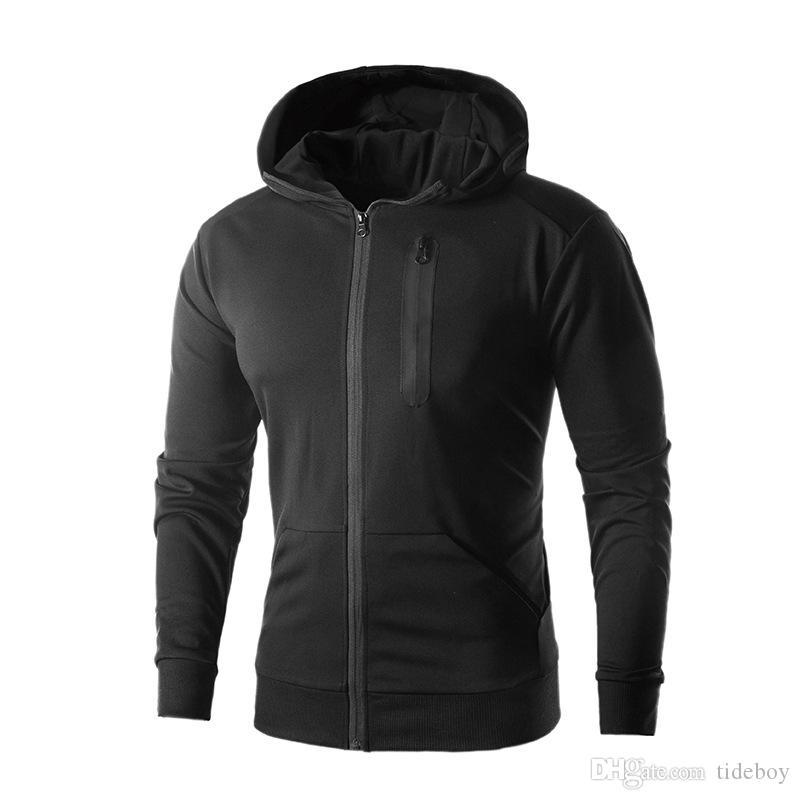 2018 년 봄과 여름 새로운 빠른 건조 지퍼 카디건 스트레치 재킷 남성을위한 Wholeasle 스포츠 까마귀 스웨터 야외 스포츠 코트