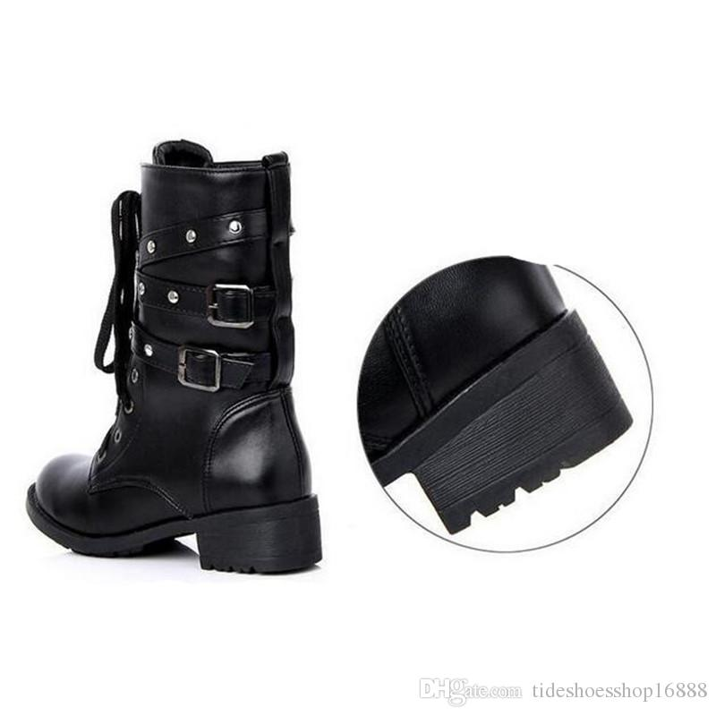 NEW Fashion Women Black Leather Tactical Ankle Boots Female Western Vintage Rivets Studded Women Motorcycle Punk Shoes plus size 41 42