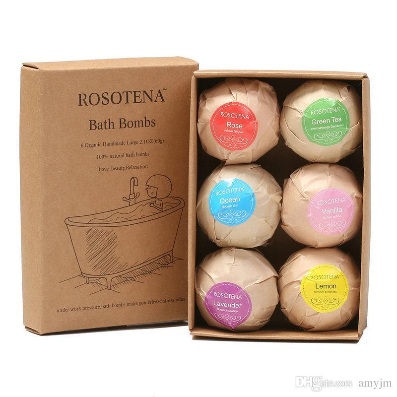 1set Organic Bath Bombs Bubble 6pcs Bath Salts Ball Essential Oil Handmade SPA Stress Relief Exfoliating Mint Lavender Rose Flavor