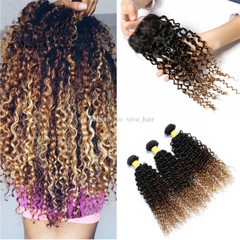 8A Ombre Curly Human Hair Bundles with Lace Closure 1B/4/27 Honey Blonde Ombre Kinky Curly Hair Weaves with Top Closure