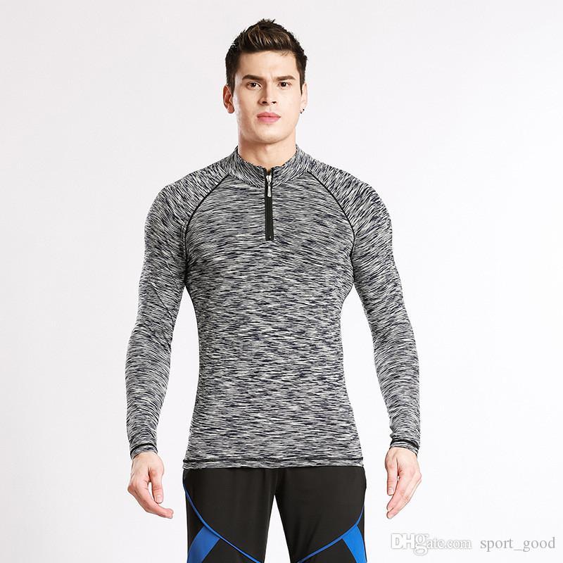 Venda quente roupas masculinas 2018 nova maré esportes roupas de manga longa T-shirt collants tops casuais treino ao ar livre atacado