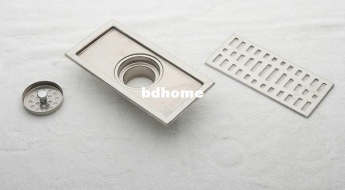 20cm en acier inoxydable nickel salle de bains cuisine douche carré étage grille de déchets sanitaire plancher drain dl04