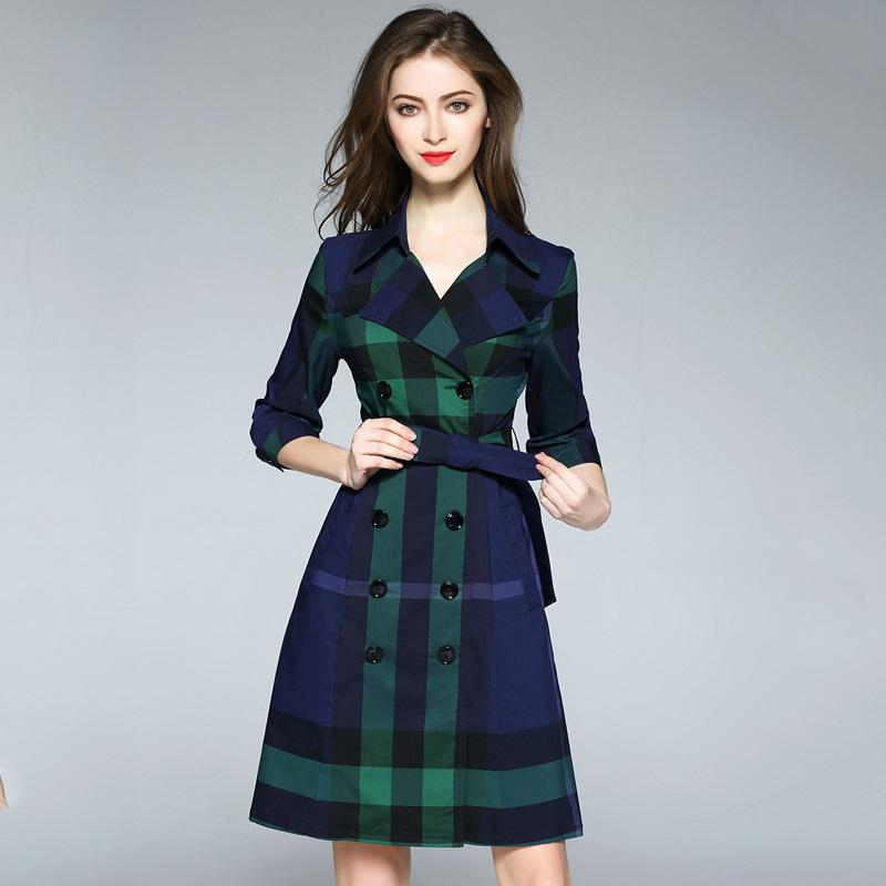Work Dresses Empire 2018 Double Breasted Turn-down Collar Women Plaid Dress Summer A-line Knee Length 3/4 Sleeve Business Uniform with Belt