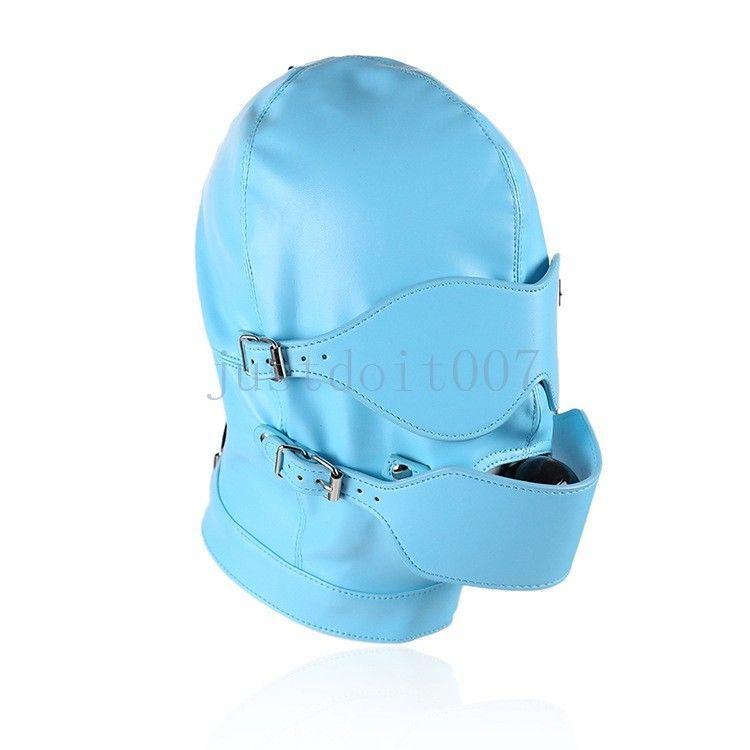 Mundknebel PU-Leder Voll Gimp Open Eyes Hood Maske Restraints Blindfold Harness Sex Games Toy # E94