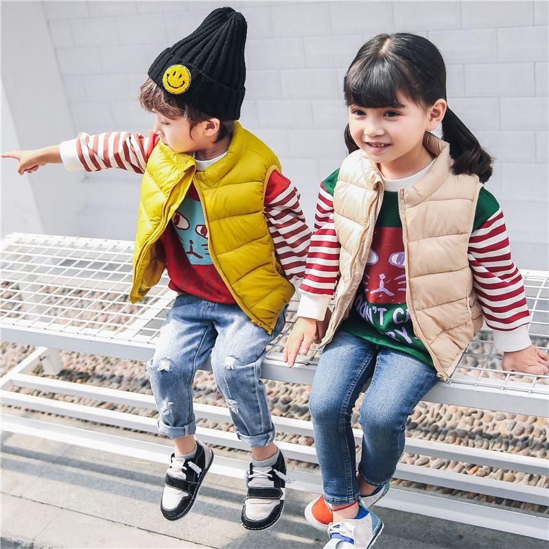 Enfants Hiver Gilet Enfant En Bas Âge Garçons Vers Le Bas Manteaux Gilet 6 Couleur Filles Infantile Bébé De Fourrure Gilet Sans Manches Enfants Automne Coupe-Vent Veste