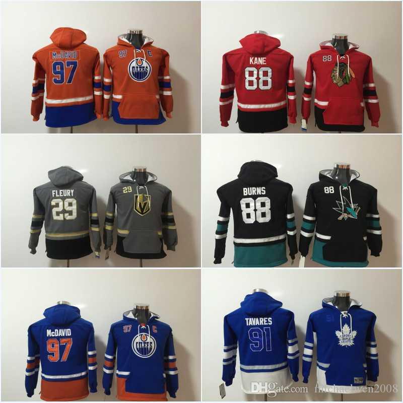 Gençlik Çocuklar Hokey Hoodies 88 Brent Burns 87 Sidney Crosby 97 Connor McDavid 19 Jonathan Toews 88 Patrick Kane Hoodies Formalar Tişörtü