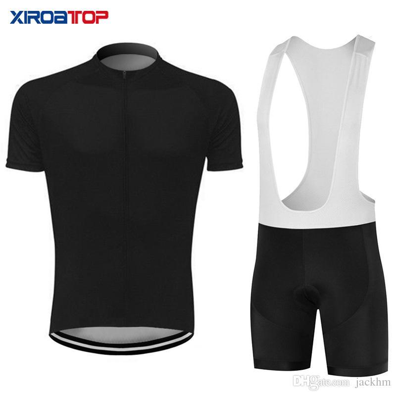 Yeni sıcak satış Tüm siyah Bisiklet Jersey Önlüğü Şort Set Dağ bisikleti Giyim MTB Bisiklet Giysileri Giymek Maillot Ropa Ciclismo Bisiklet Seti