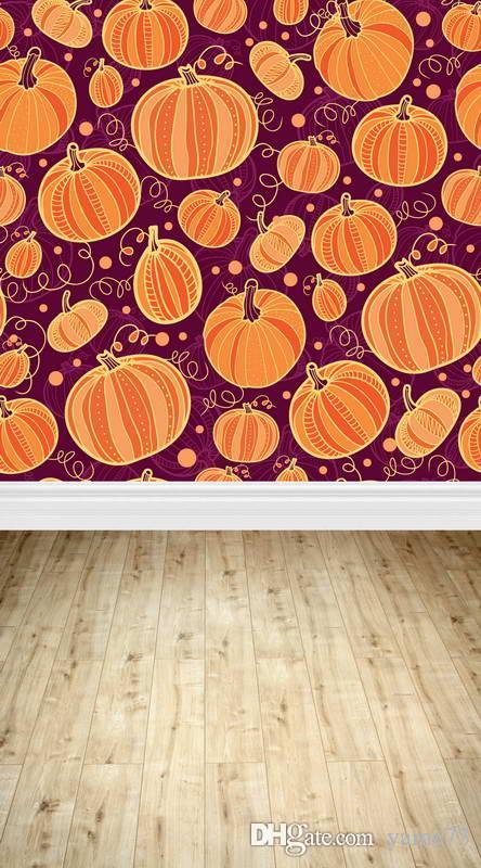 5x7ft vinil dos desenhos animados abóbora de halloween chão de madeira estúdio de fotografia backdrop