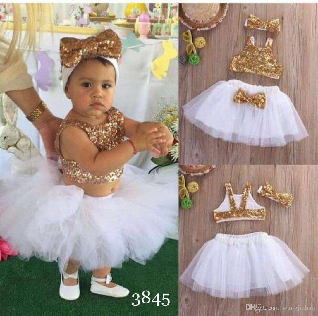 filles enfants costume vêtements de bébé Ins Europe et les États-Unis jupe costume gilet perlé + jupe en maille + portant costume trois pièces pour enfants