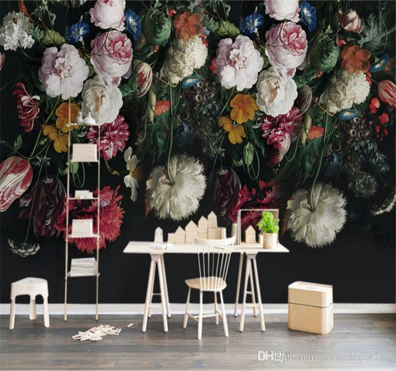 3D Custom Wall Mural Wallpaper European Style Pastoral Retro Roses Peony Floral Hand Painted Background Wall Painting Wallpaper