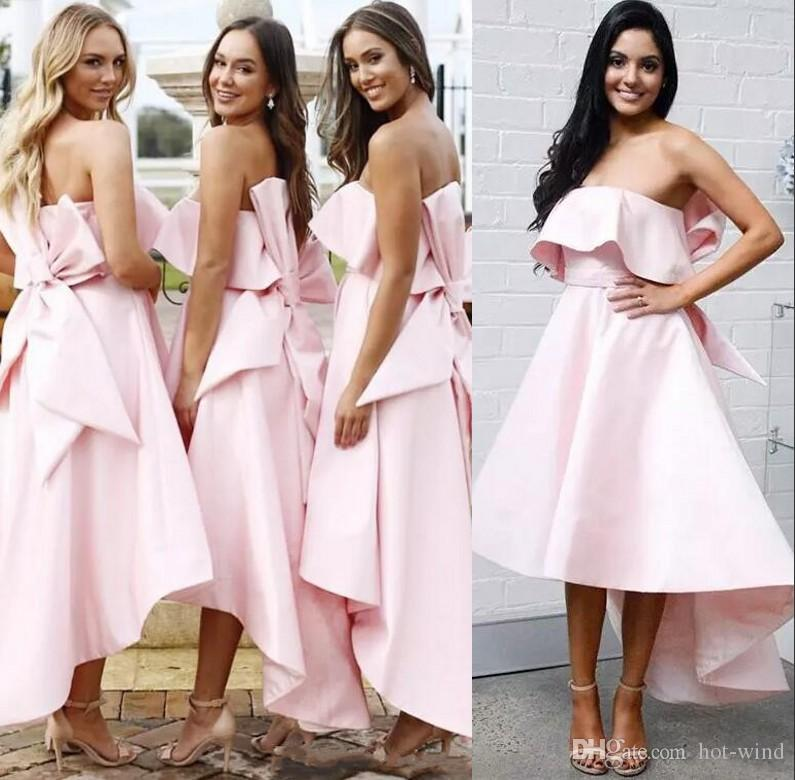 Pink High Low Short Bridesmaid Dresses Strapless With Bow Back Wedding Guest Dress A Line Satin Summer Beach Maid Of Honor Gowns