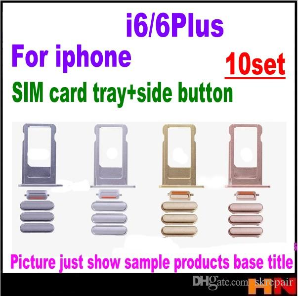 10pcs For iPhone 6 6P plus full set Power On Off Volume Button Mute Button SIM Card Tray Holder Replacement Parts free shipping