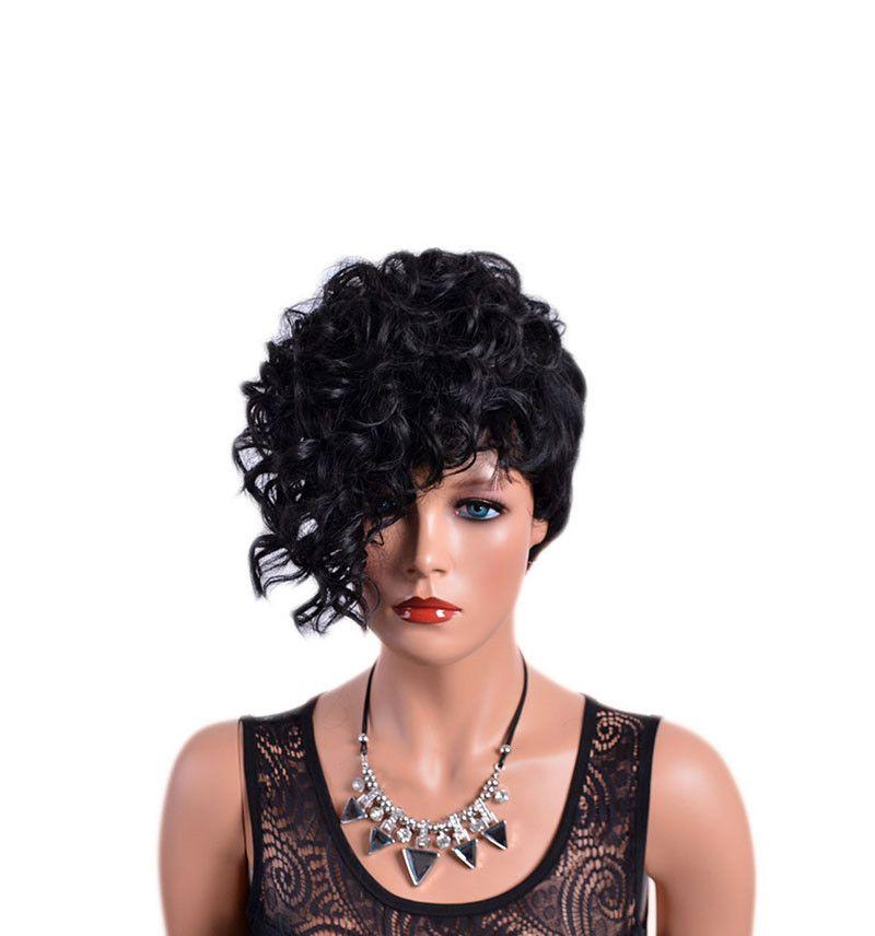 앞머리 곱슬 다시 짧은 앞머리 자연 검은 합성 머리 아프리카 가발 여성 고온 섬유