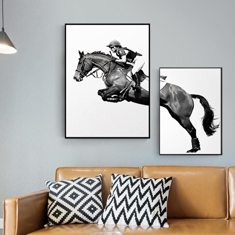 Nordic Minimalist Knight Horse Black White Animal Canvas Painting Fashion Poster And Print Mural For Living Room Decor Wall Art