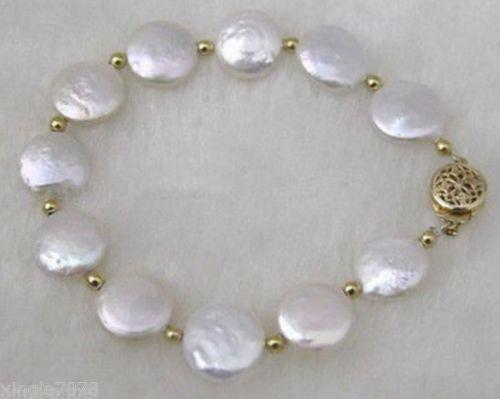 "Genuino affascinante! 12-13mm White Button Coin Pearl White Bracelet 7.5 """