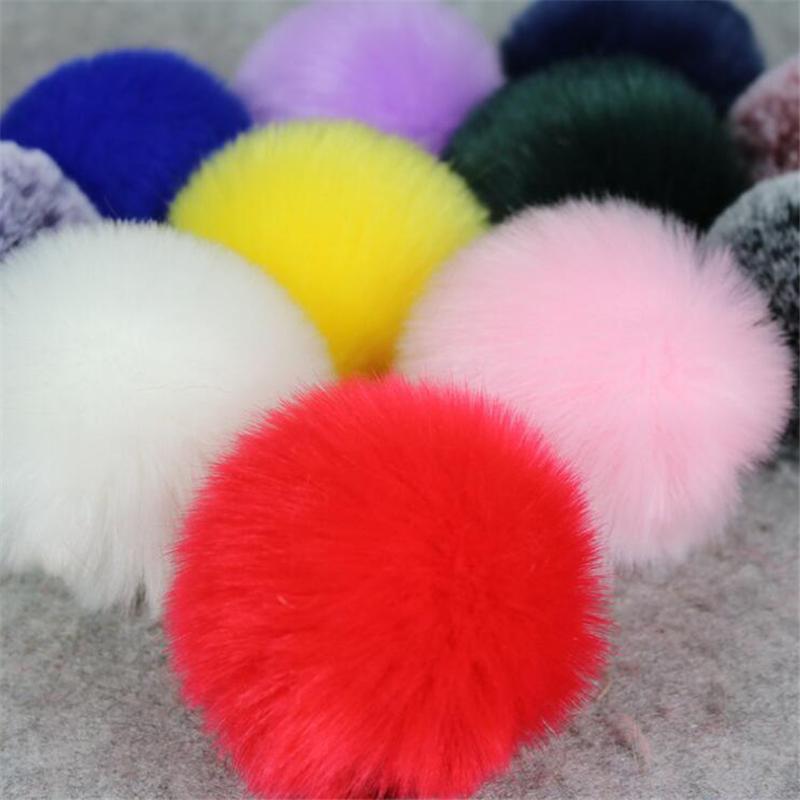 2 Unids 8 cm Gran pompón Fluffy Plush cloth Craft DIY Suave pon pom pon poms bola furball decoración para el hogar Suministros de costura Craf flores bola