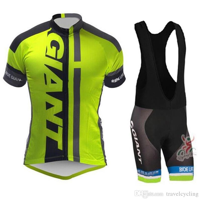 2019 GIANT Cycling Jersey Short Sleeve Bib shorts suit men Racing Bike mountain Clothing Set Maillot Bicycle Clothes uniform Y052707