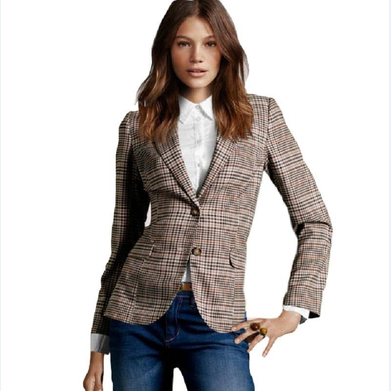 2015 Yeni Moda kadın Ekose Dirsek Yamalar Ince Blazer Bayanlar Sonbahar Temel Ceket Rahat Blazer Feminino A360 L18101302 Suits