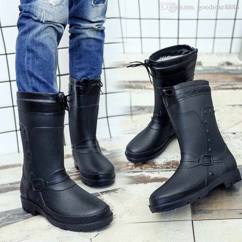 2018 new stley High quality men's rubber boots rain rubber shoes fashion adult overshoes waterproof shoes