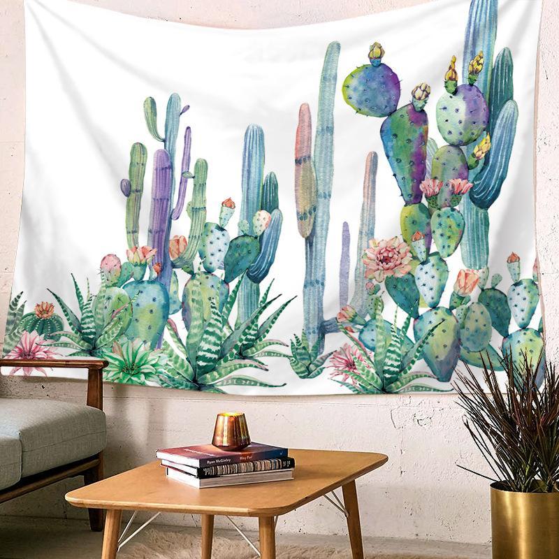 نسيج التصوير خلفية الدعائم الرعوية الخضراء نبات الصبار نسيج جدار ديكور شنقا جدار نسيج السجاد الشاطئ بطانية المنزل ديكو