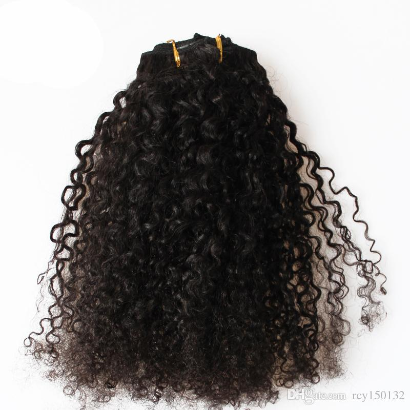 Brazilian Kinky Curly Hair Clip in Human Hair Extensions Natural Color Remy Hair Clip-ins 100g 7pcs/Lot