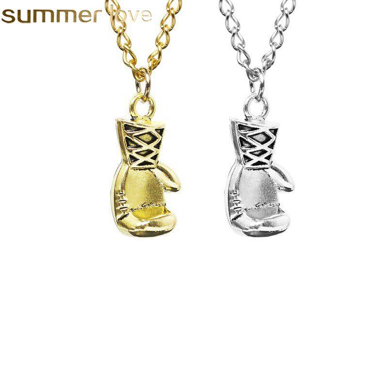 Бокс перчатка ожерелье 2018 мода горячая распродажа сплава золото / серебро цвет классных кулон мужчин и женщин спортивные ожерелья оптом еврейки