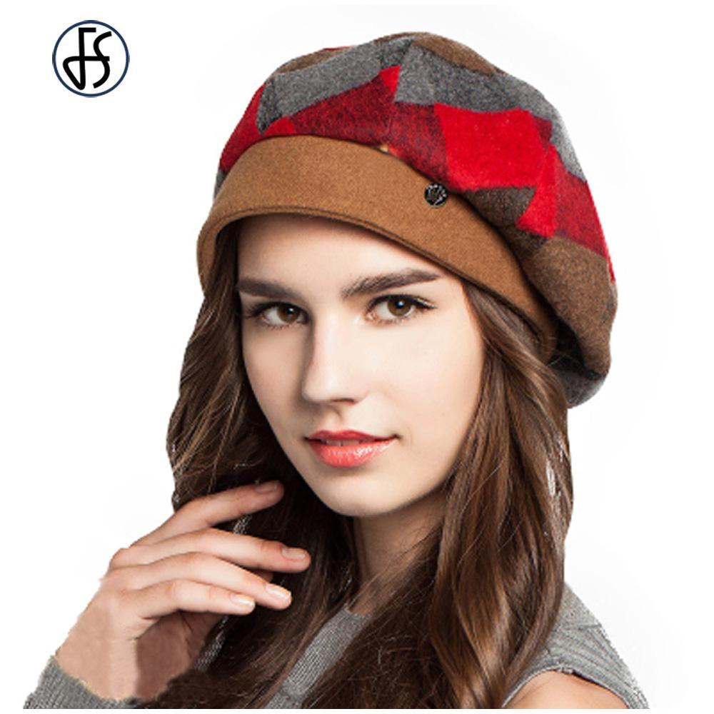 Lady Fashion Womens Green Red Orange Plaid Beret Hat Elegant Warm Wool Berets Casual  French Artist Baret Hats