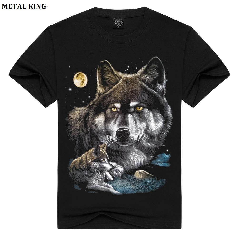 METAL KING 3D T Shirt Mujeres / Hombres Tops de algodón Tee Wolf Skull Printed Swag manga corta T-shirt Plus Size Shirt Camisetas S-XXXL