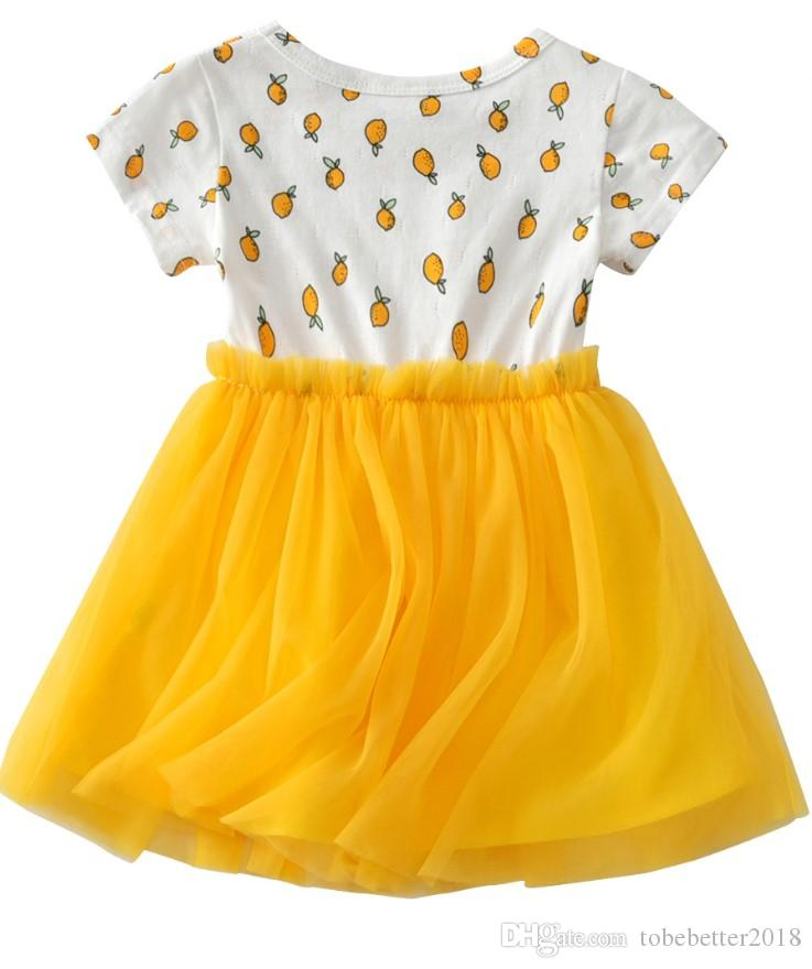 Baby Kids Girls Lemon Yellow Short Sleeve Tulle Dress Sundress Princess Tutu Dresses For Wedding Party Prom