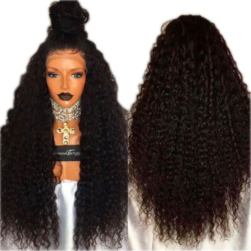Rizado rizado peluca sintética para mujeres Negro a prueba de calor 180 Densidad afro rizado sintética del frente del cordón pelucas con el pelo del bebé