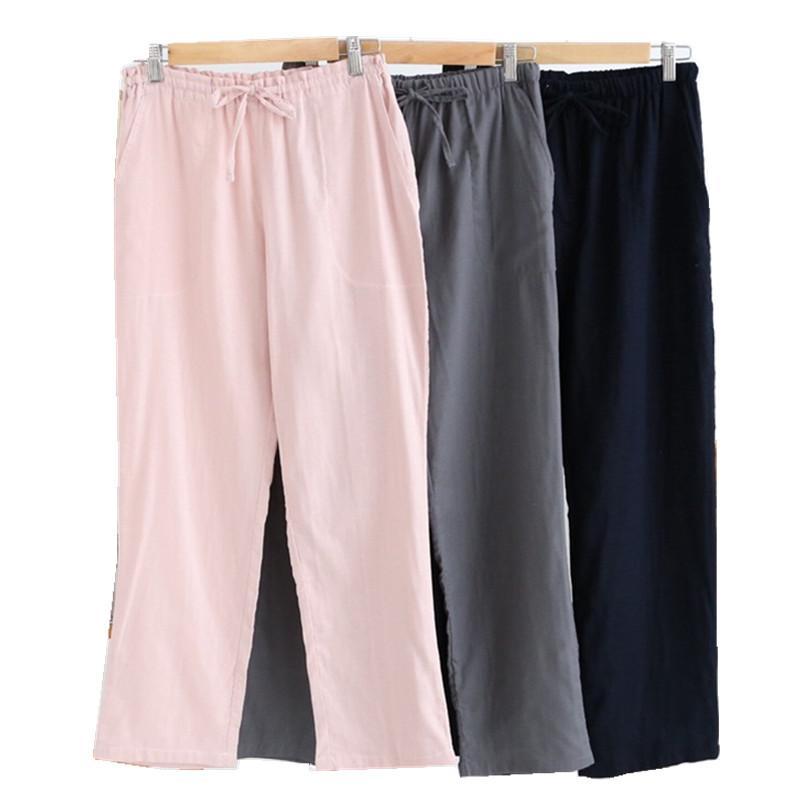 Estate 100% cotone donne garza sonno bottoms casual coppie pigiama casa pantaloni sonno pantaloni donne pantaloni trasparenti