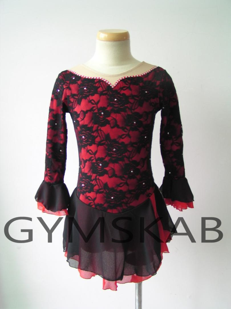 2018 Nouveau Style Robe De Patinage Artistique Pour Femmes Robe De Patinage Sur glace À Manches Longues Rose Gymnastique Costume 6383