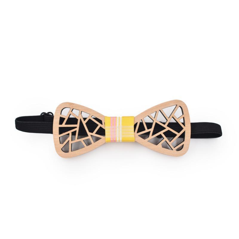 새로운 독특한 디자인 불규칙한 Openwork 새겨진 수제 나무 장식 활의 타이 양복 캐주얼 저녁 나무 액세서리 Bow Tie