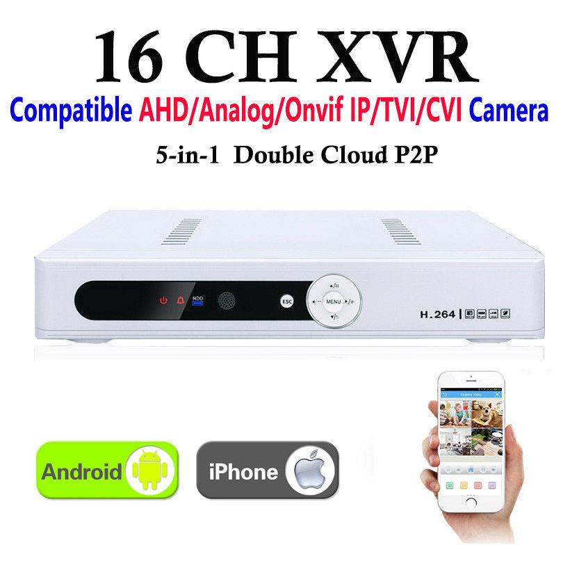 CCTV 16Channel XVR Video Recorder All HD 1080P 8CH Super DVR Recording 5-in-1 support AHD/Analog/Onvif IP/TVI/CVI Camera