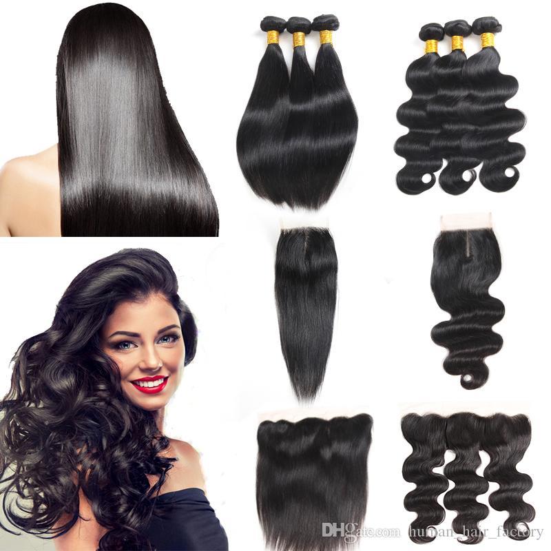 Brazilian Human Hair Extensions Body Wave Bundles with Closure Indian Straight Human Hair Mongolian Malaysian Brazilian Virgin Hair Frontal