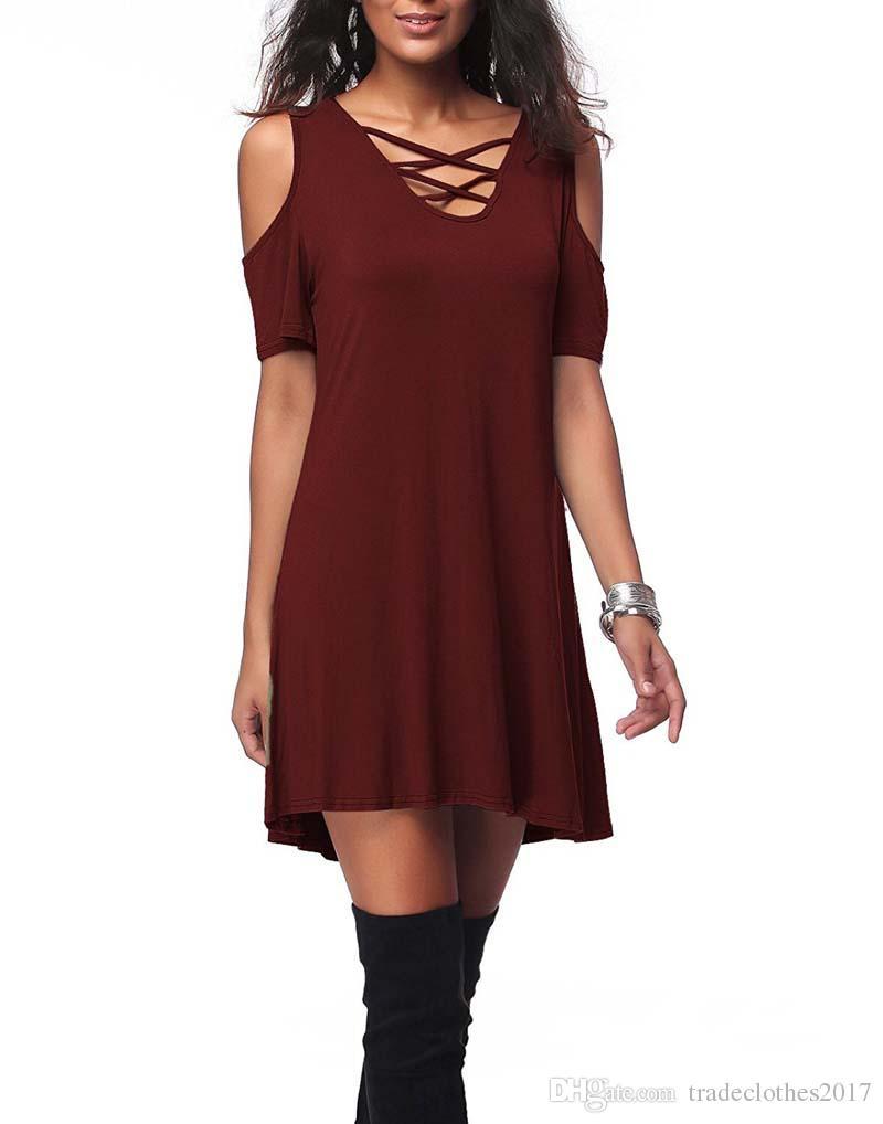 2018 Женщины V воротник с открытыми плечами с коротким рукавом твердые мател шелковой ткани свободные платья Лето 4Colors