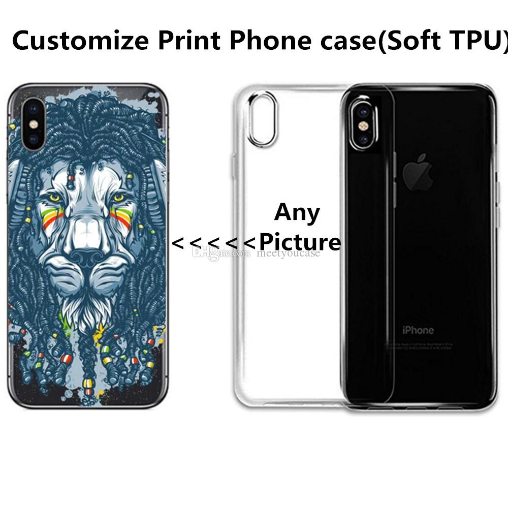 newest f795f bff9f Custom Phone Case Logo Printed Soft TPU Gel Silicone OEM DIY Cover For  IPhone 5 5s 6 6s 7 Plus 8 X Customize Cases For Samsung S8 S9 Plus Cell  Phone ...