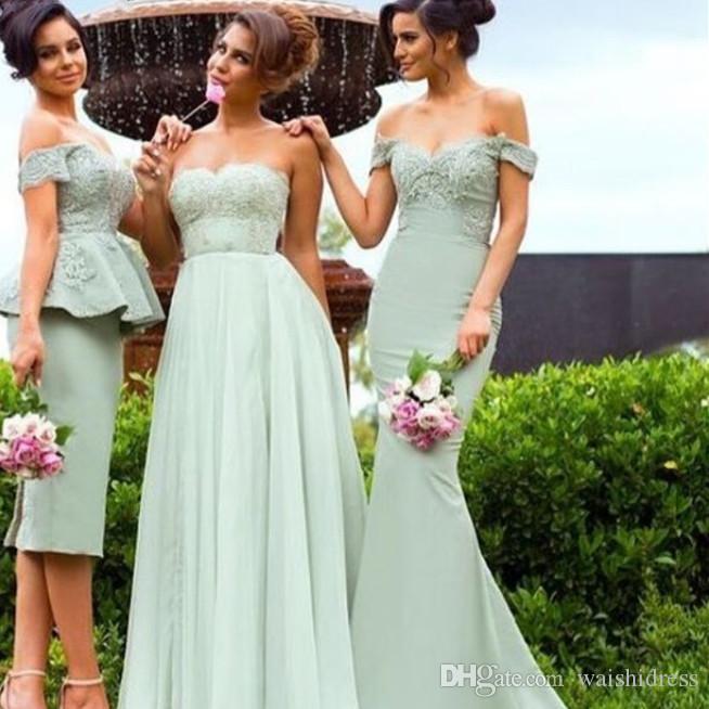 2018 Waishidress Işık Yeşil Düğün Gelinlik Modelleri Özel Sevgiliye Bir Çizgi Gelinlik Elbise Backless Düğün / Etkinlik Resmi Elbiseler