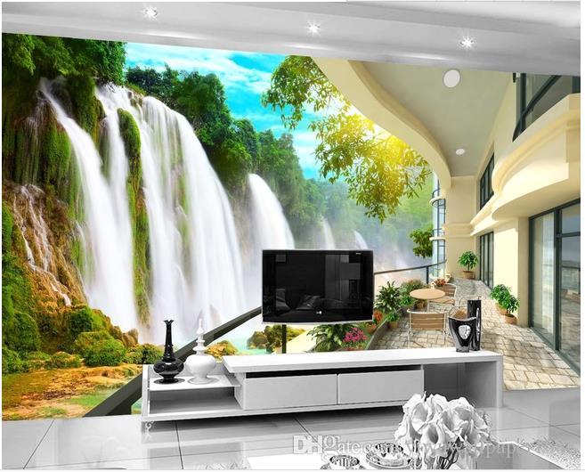 Personnalisé photo toute taille cascade paysage TV fond mur papiers peints concepteurs de décoration