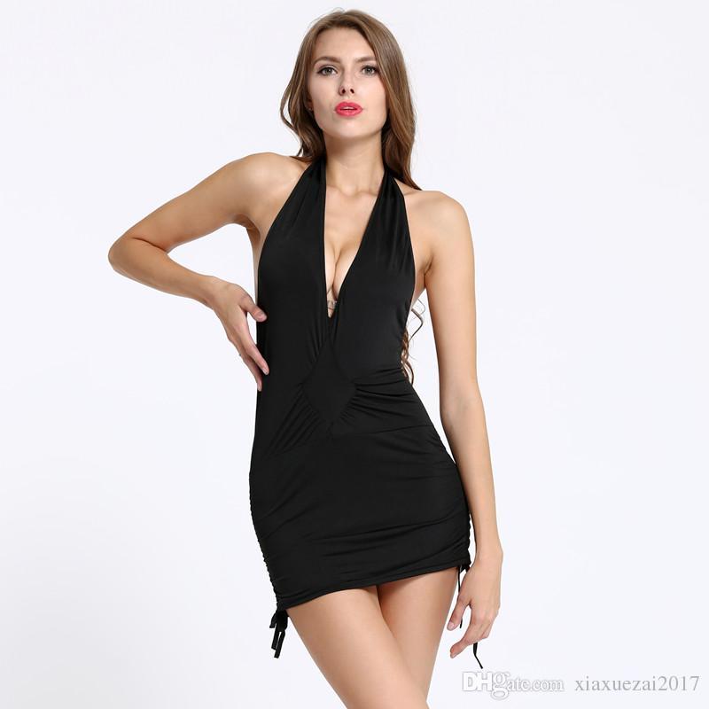 Acheter Robe Noire Sexy Decollete V Dos Nu Robe Courte Tenue De Soiree Ceinture Ajustable Licou Robes Dete Mini Robes De 7 24 Du Xiaxuezai2017 Dhgate Com