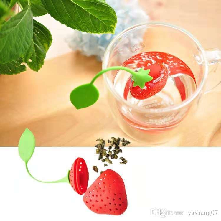 SF gros vente chaude silicium sachet de thé belle fraise passoire à thé filtre infuseur citron style sachet de thé café outils livraison gratuite